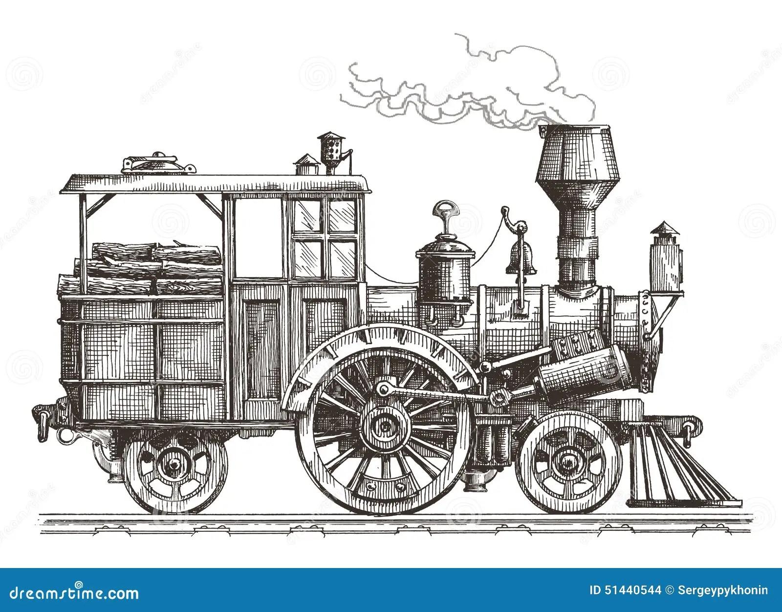 Retro Train On A White Background Sketch Stock