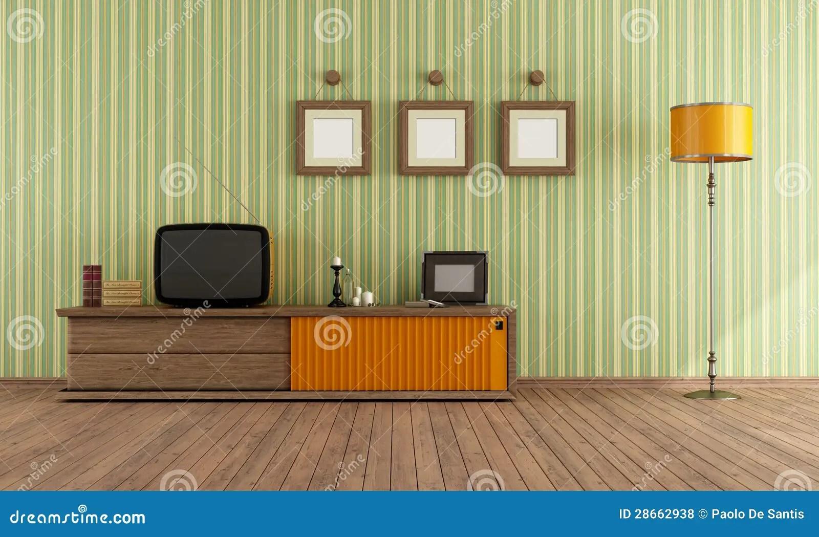 Retro TV in a living room stock illustration Illustration