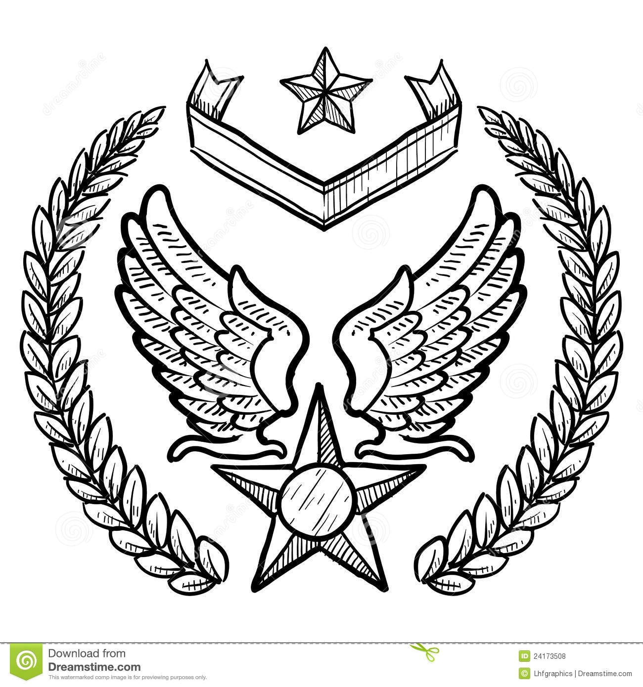 Retro Us Air Force Insignia With Wreath Stock Vector