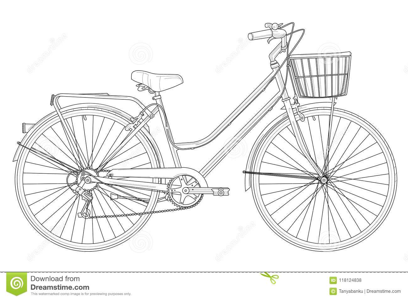 Retro Vintage Bicycle With Basket With Outlines Stock
