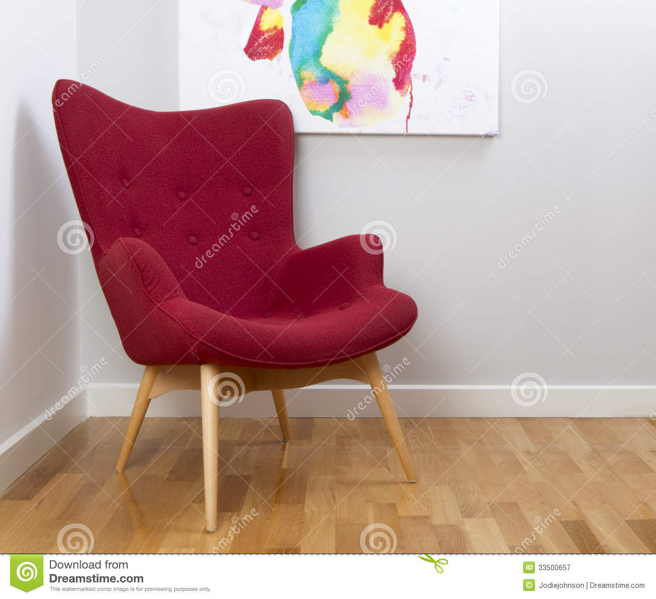 Retro Vintage Classic Red Chair Royalty Free Stock