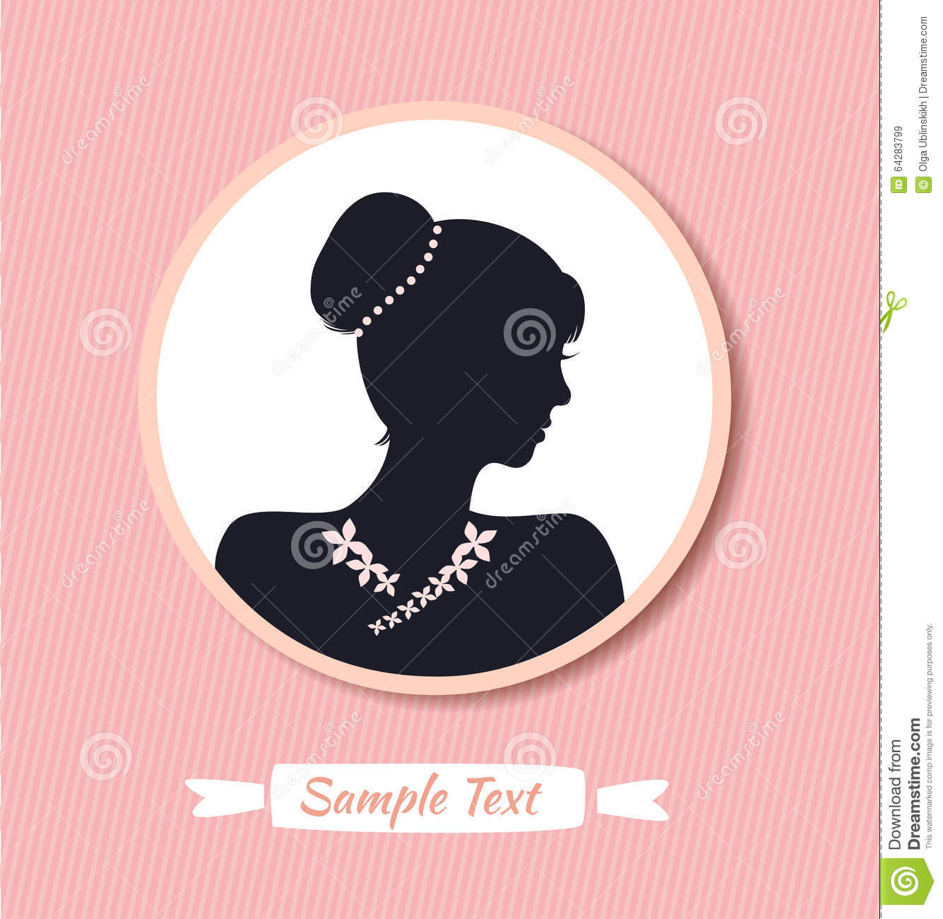 Retro Woman Head Silhouette In Round Frame Vector Woman