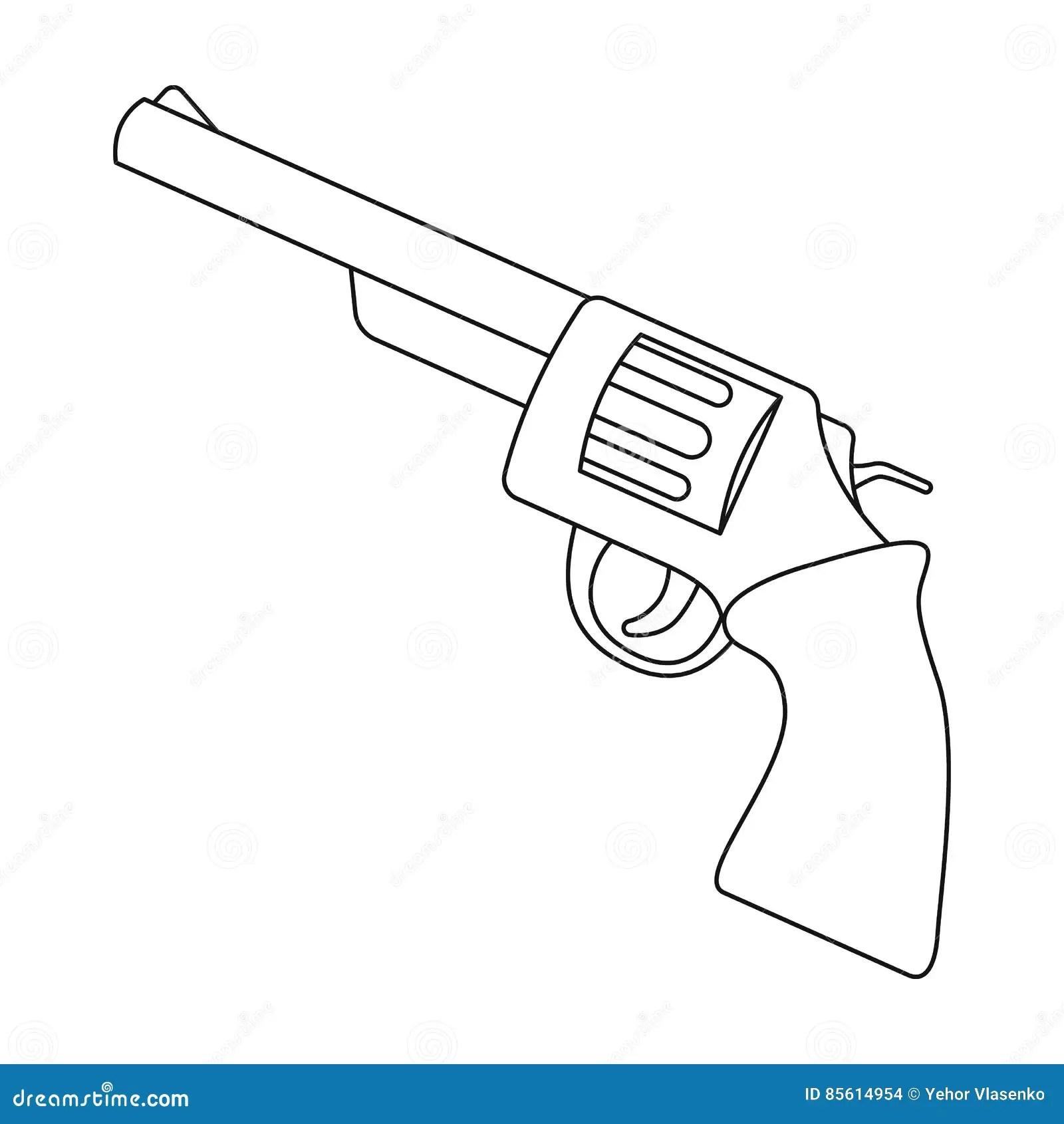 Vintage Revolver Icon Outline Style Cartoon Vector