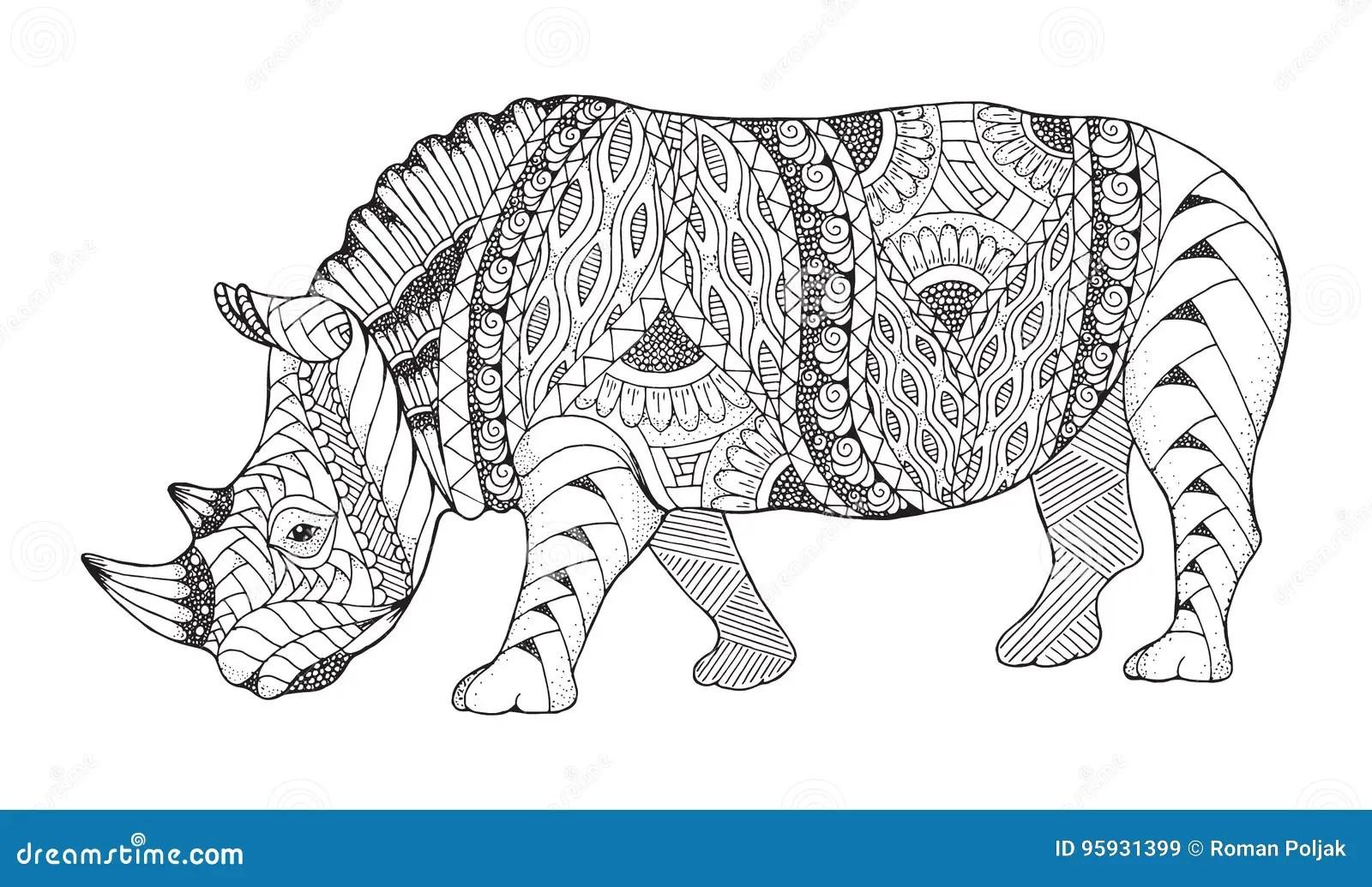 Rhino Animal Zentangle Stylized. Rhinoceros Vector