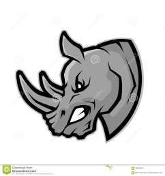clipart picture of a rhino head cartoon mascot character [ 1300 x 1390 Pixel ]