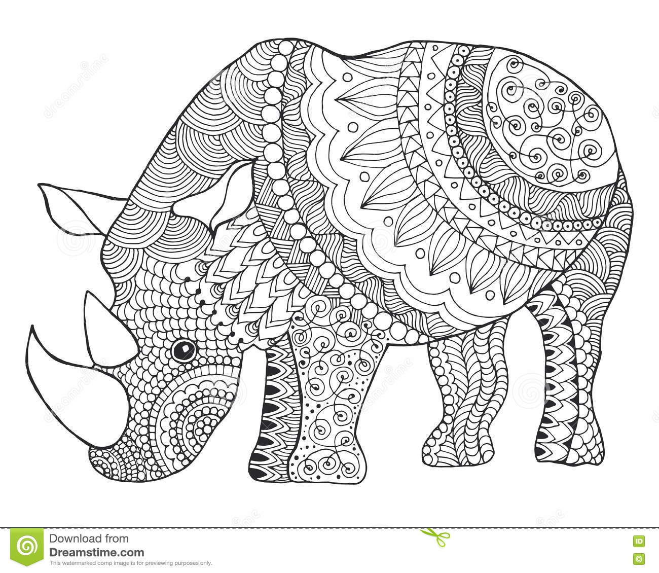 Adult Coloring Page Rhino Cartoon Vector