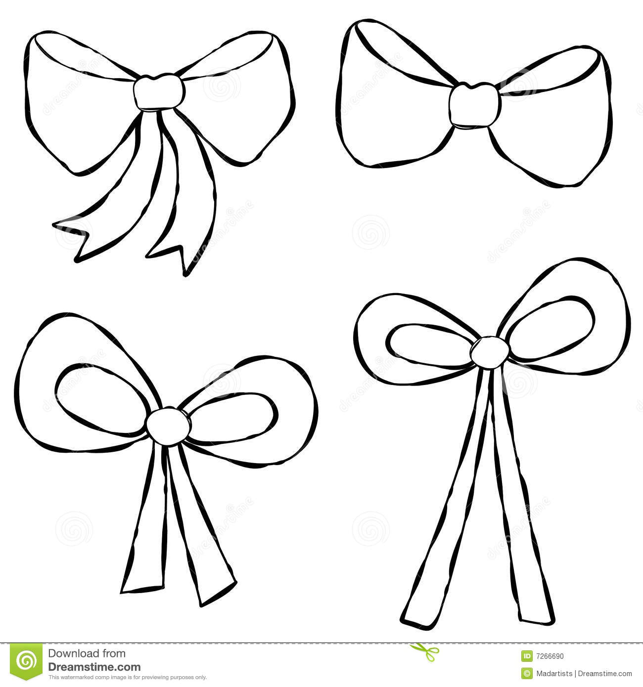 Ribbons Bows Line Art Stock Photo