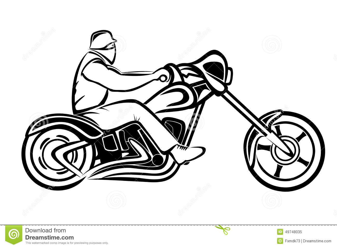 Rider On A Chopper Stock Vector Illustration Of Engine