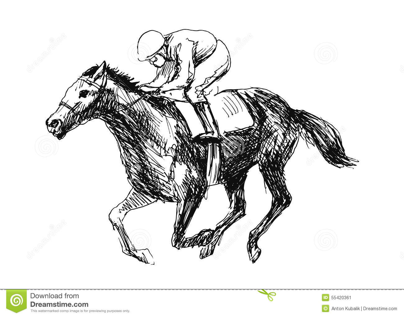 Rider With A Horse Stock Vector Illustration Of Clipart