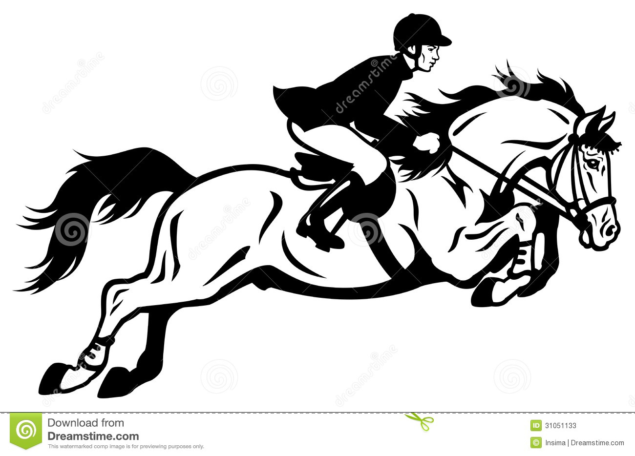 Rider Show Jumping Stock Vector Illustration Of Equine