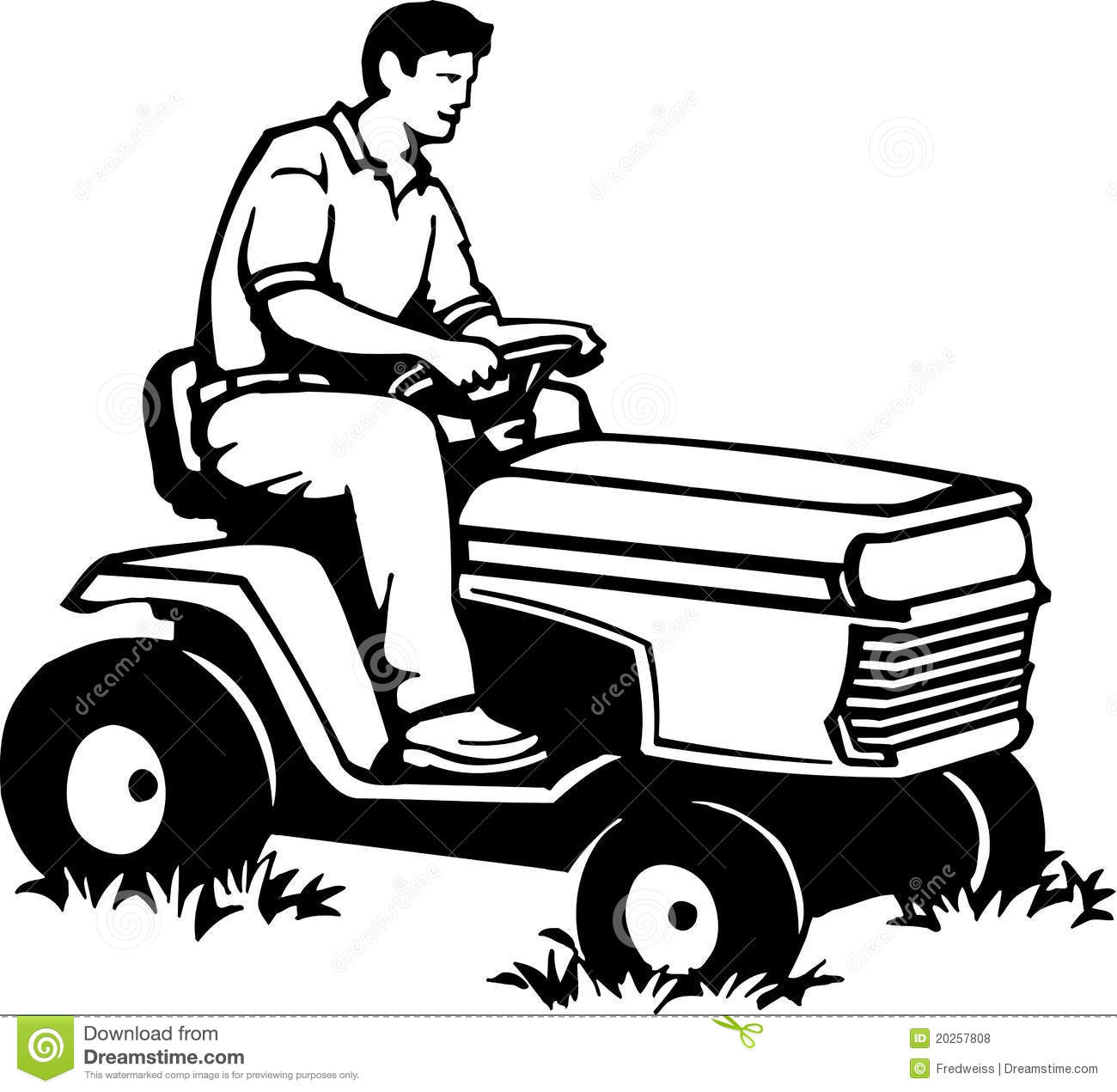 Riding Lawn Mower Stock Vector Illustration Of Lawnmower