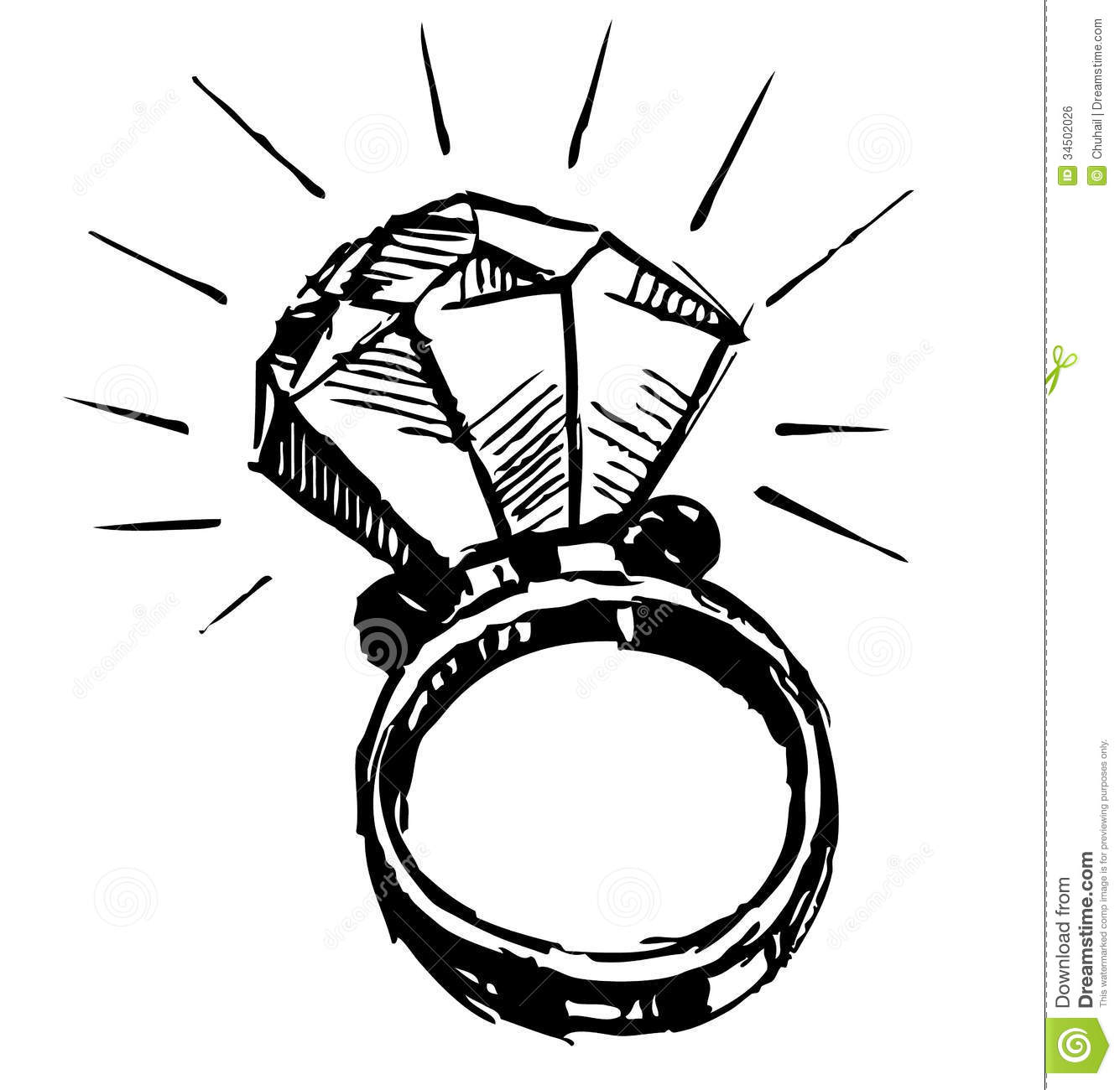 Ring With A Big Sparling Diamond Stock Vector