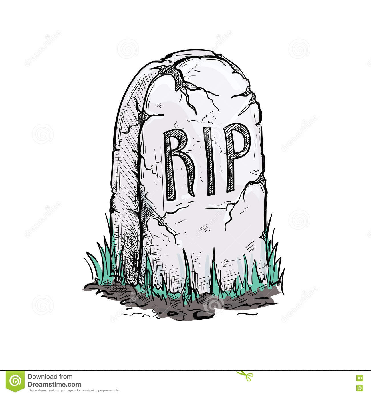Rip Tomb Grave Stone Sketch Icon Stock Vector