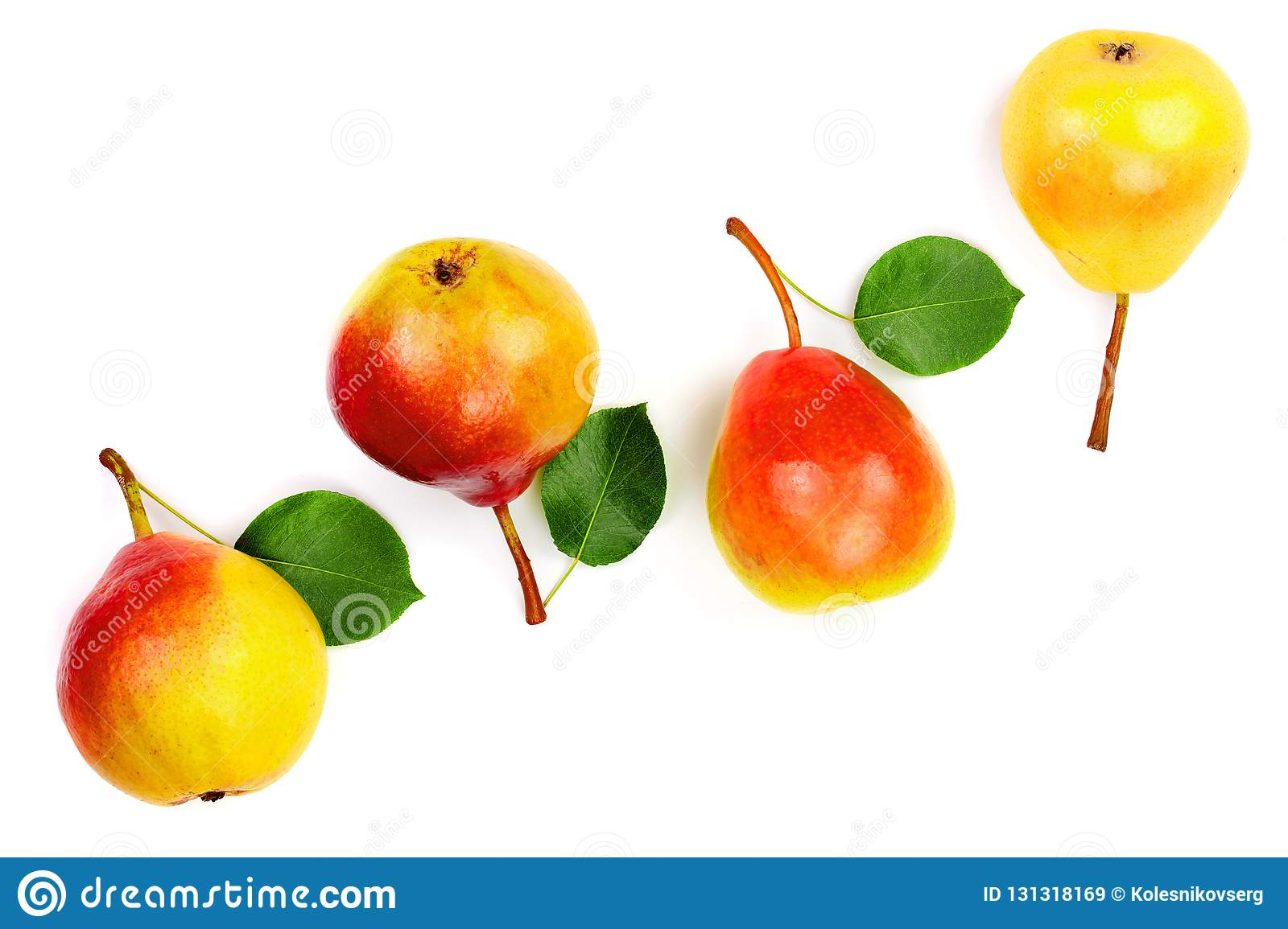 Ripe Red Yellow Pear Fruits With Leaf Isolated On White