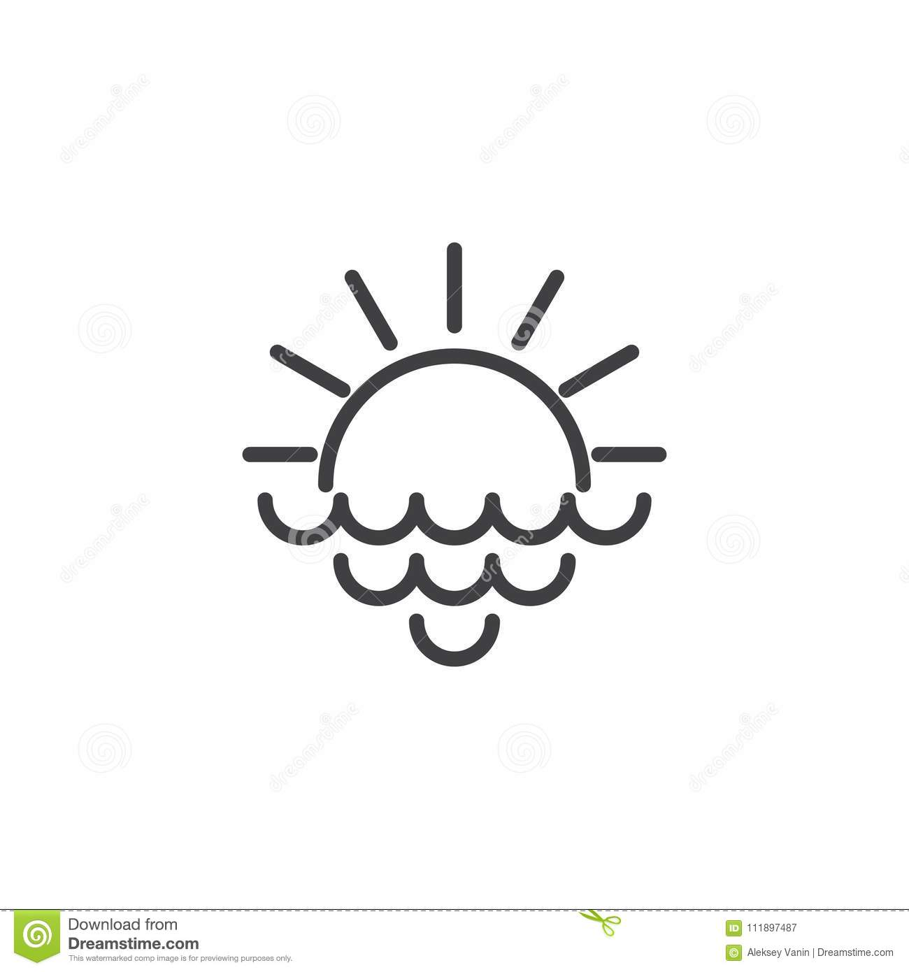 Rising Sun With Rays And Sea Waves Outline Icon Stock