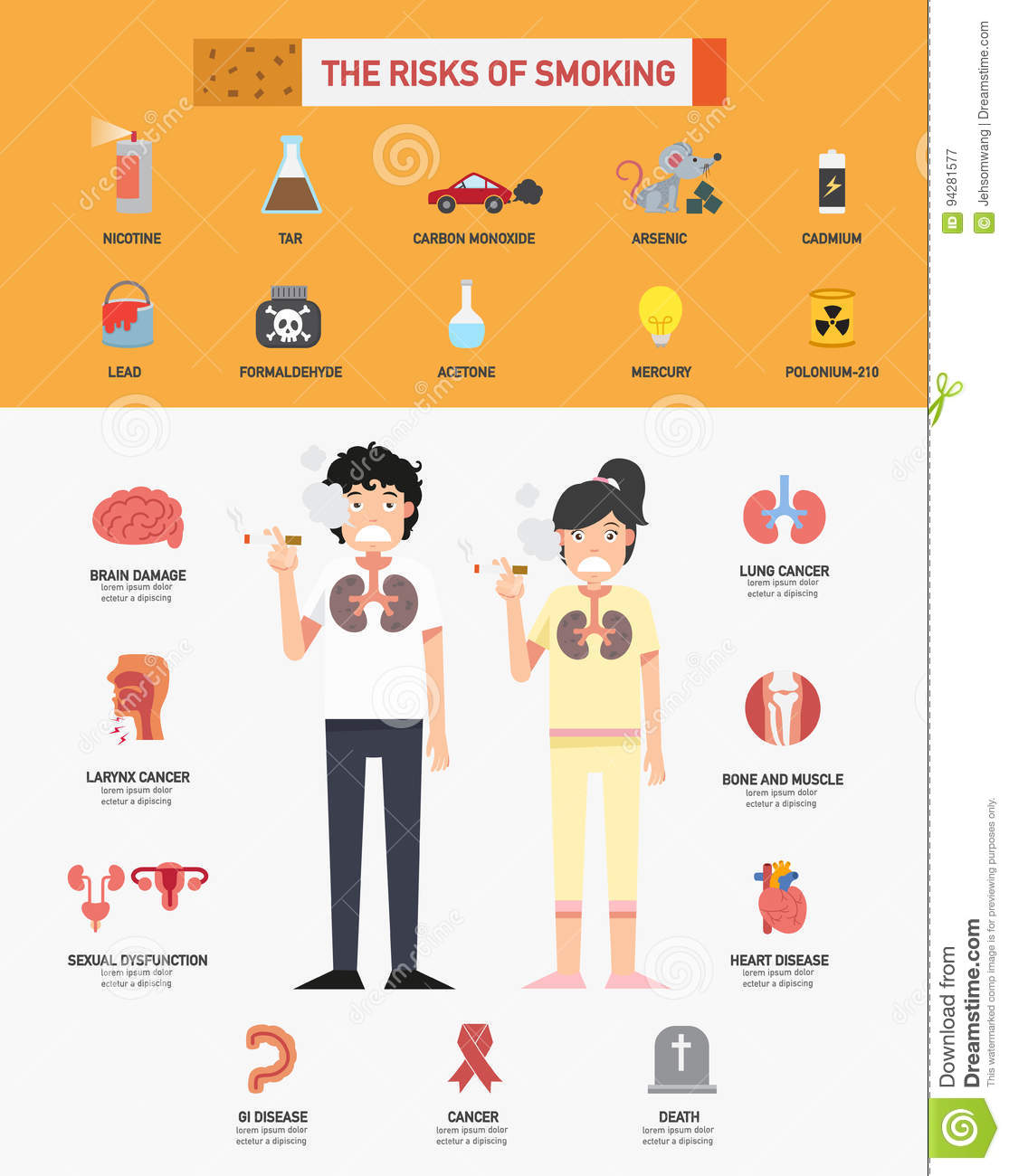 The Risk Of Smoking Infographics Stock Vector