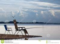 River Bank Chair Fishing Fishing Stock Photo