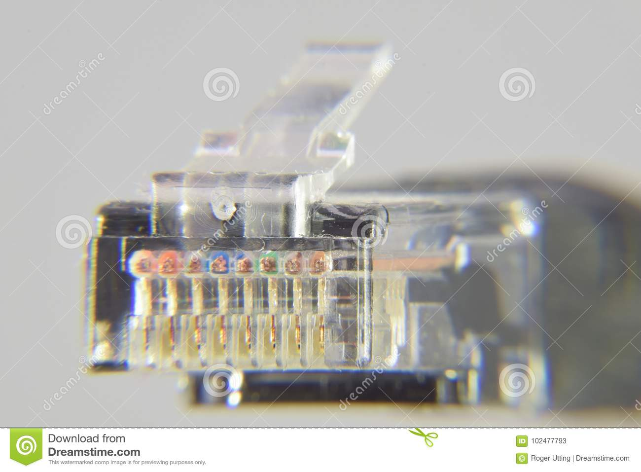 hight resolution of the rj45 plug on the end of an ethernet cable