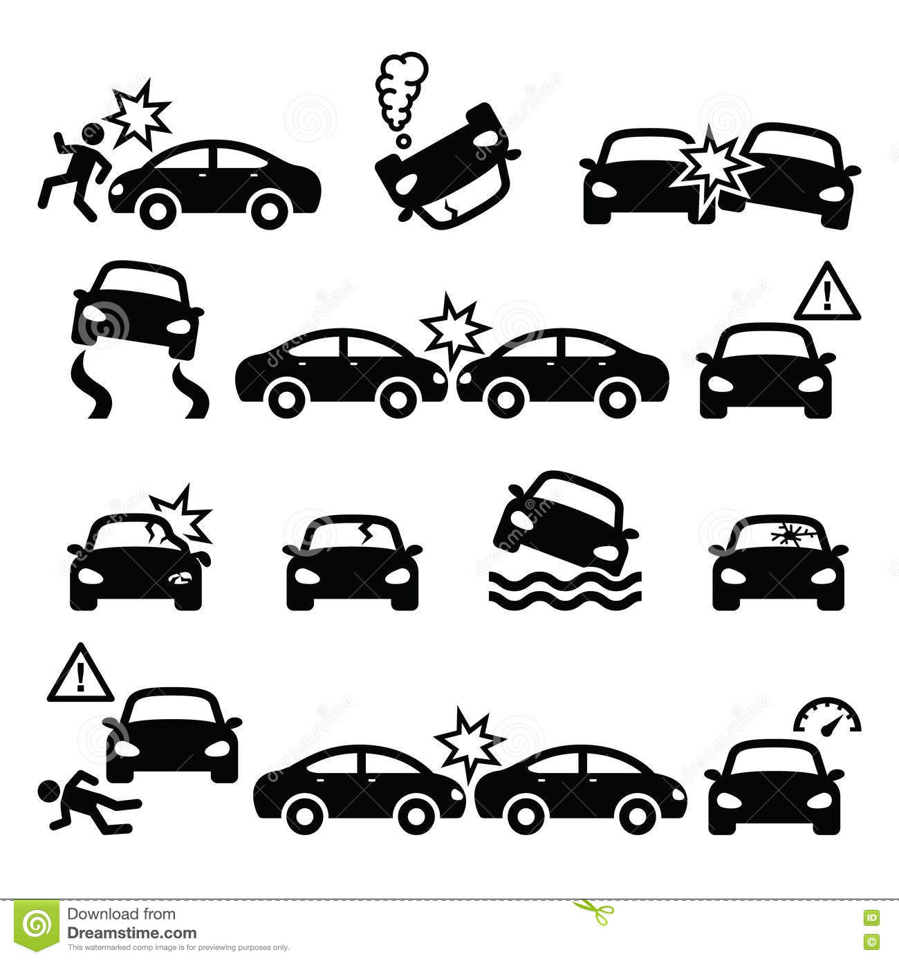 Road Accident Car Crash Personal Injury Icons Set Stock