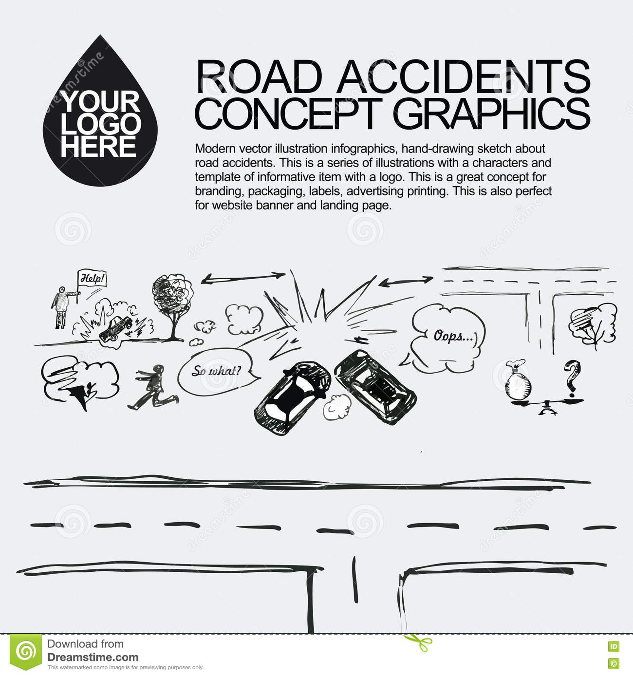 Road Accident. The Car Crashed Incident. Stock Photo