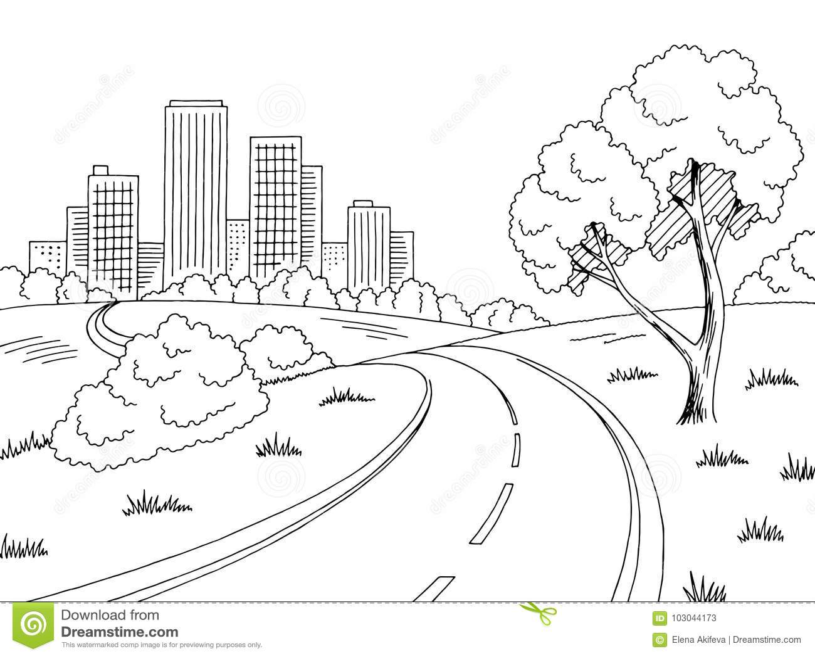 Road City Graphic Black White City Landscape Sketch