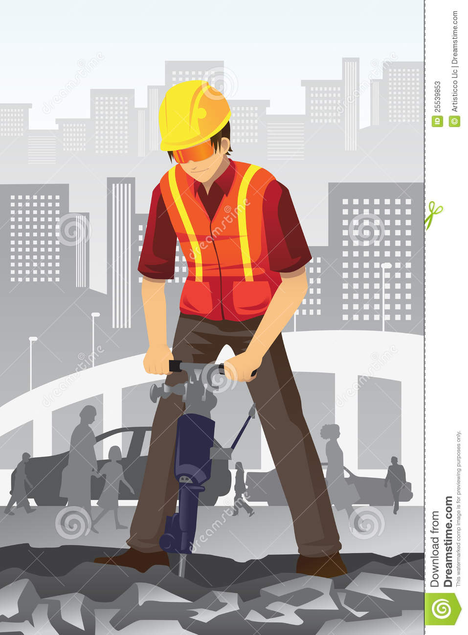 Road construction worker stock vector Image of social