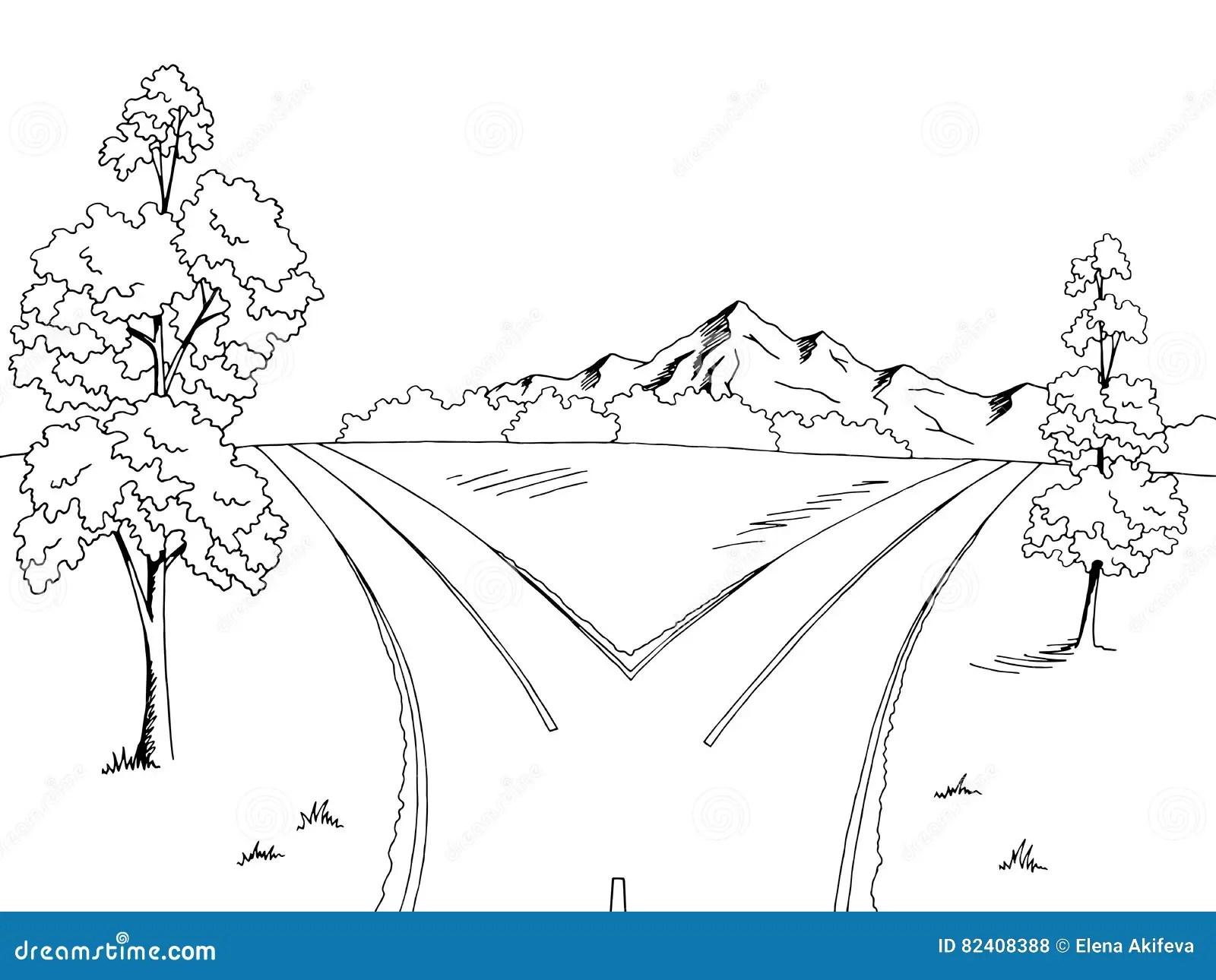 Road Fork Graphic Black White Landscape Sketch