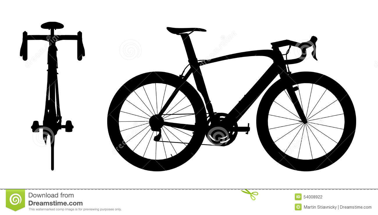 Road Racing Bike Silhouette 2in1 A Stock Illustration