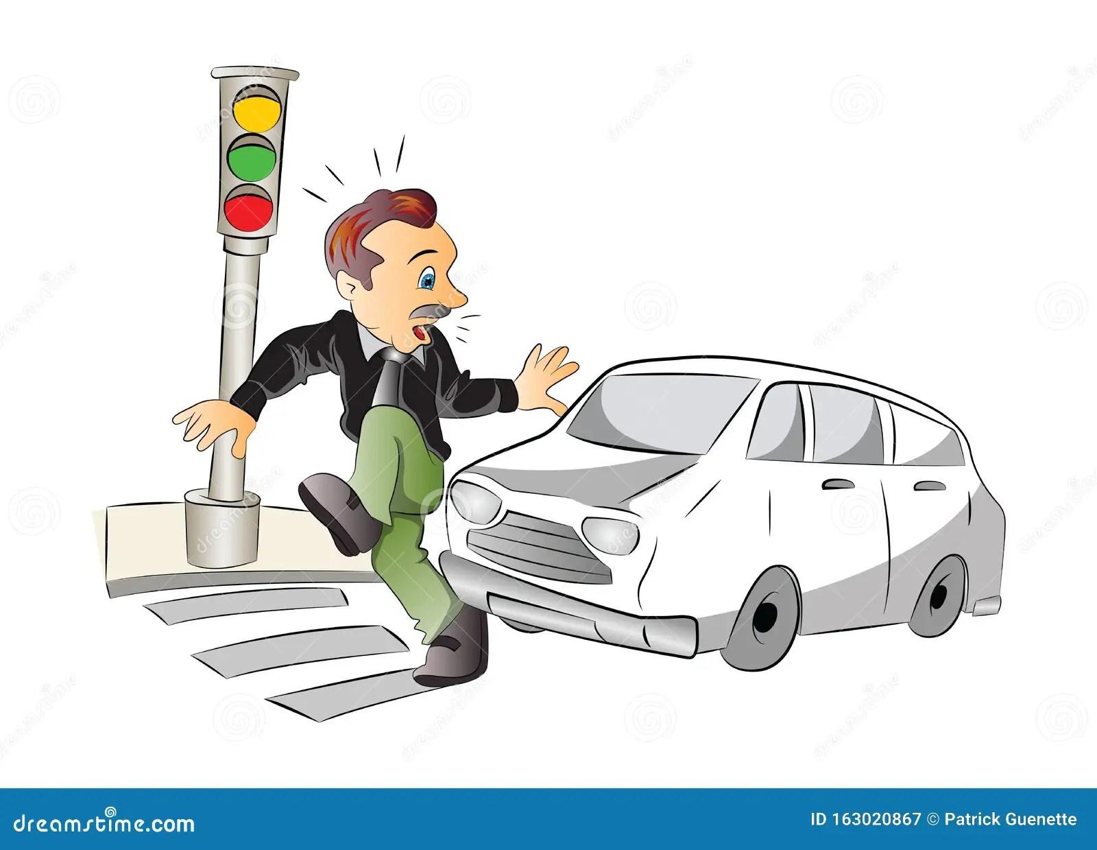 https www dreamstime com road safety illustration man to be hit car vector image163020867