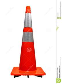 Road Safety Orange With Reflectors Traffic Cone Stock