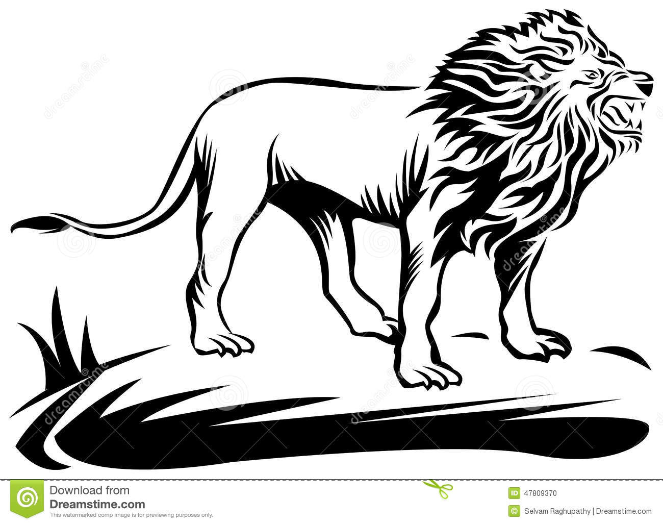 hight resolution of roaring lion line art work with isolated white background