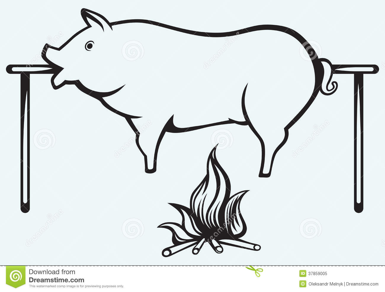 Roasted Pig Stock Vector Illustration Of Animal