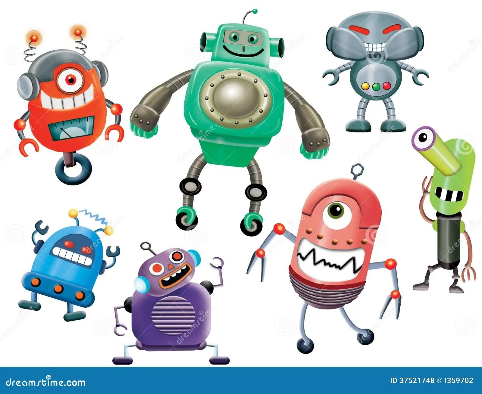 robot cartoons stock illustration
