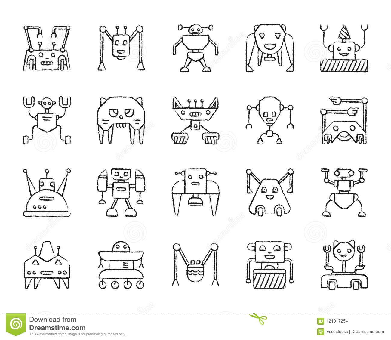 Robot Charcoal Draw Line Icons Vector Set Stock Vector