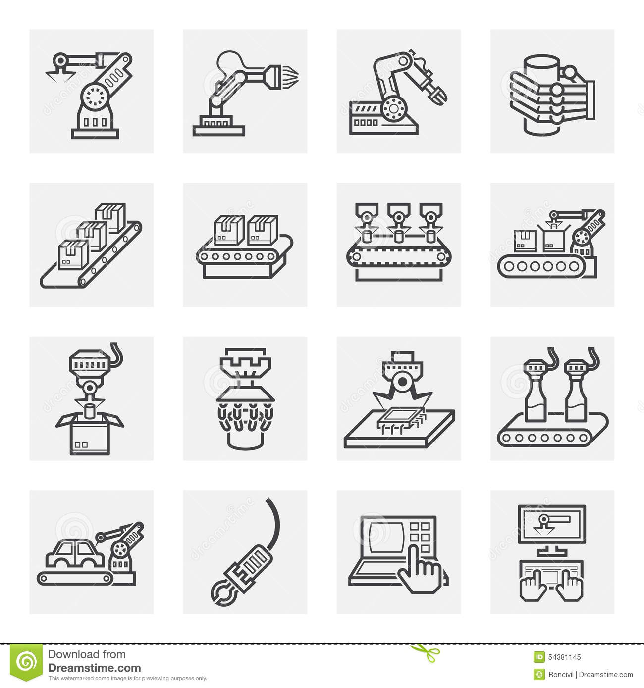 Robot Arm Icons Industrial Manufacturing Assembly