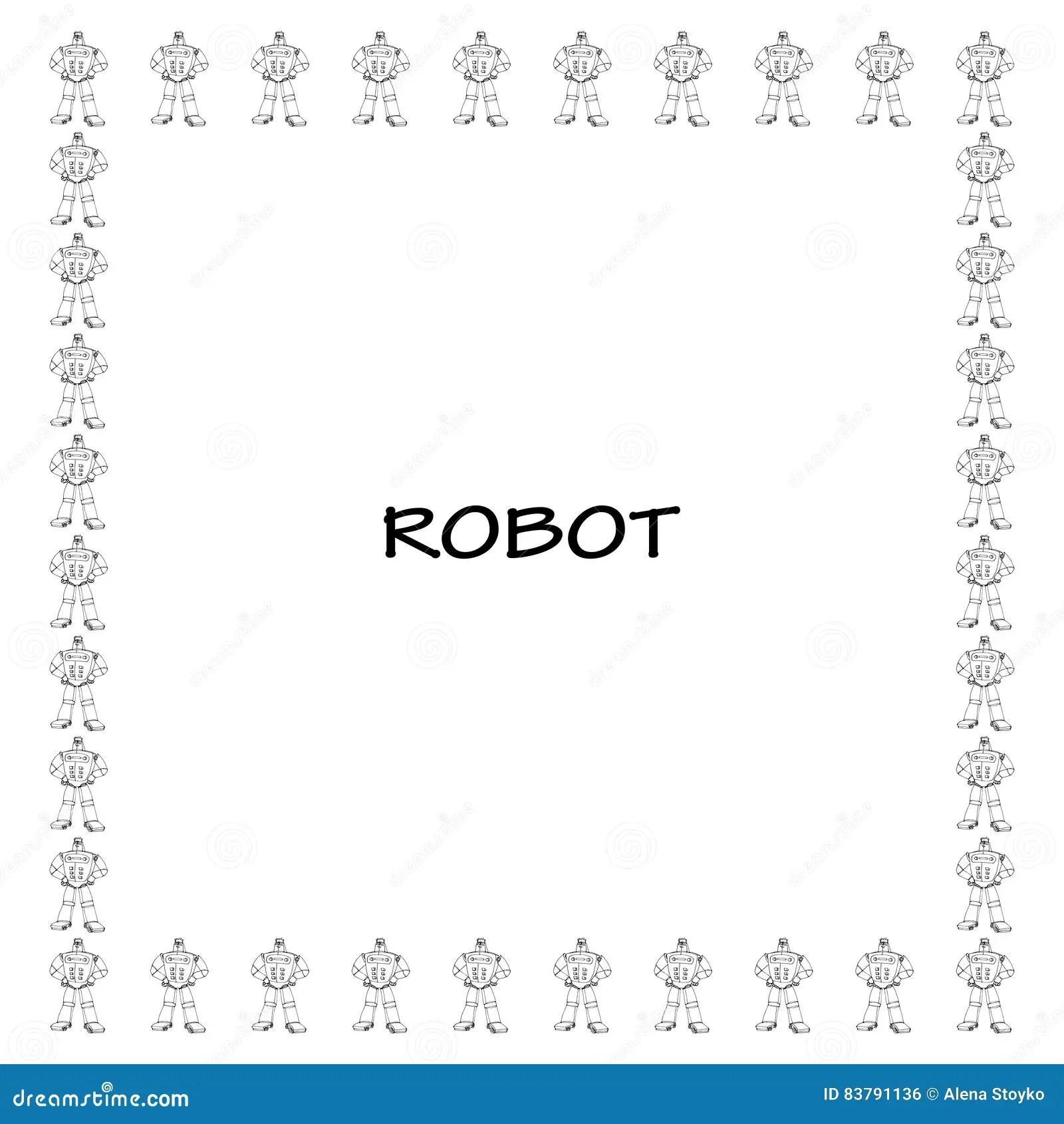 Robot Doodle Frame Stock Vector Illustration Of