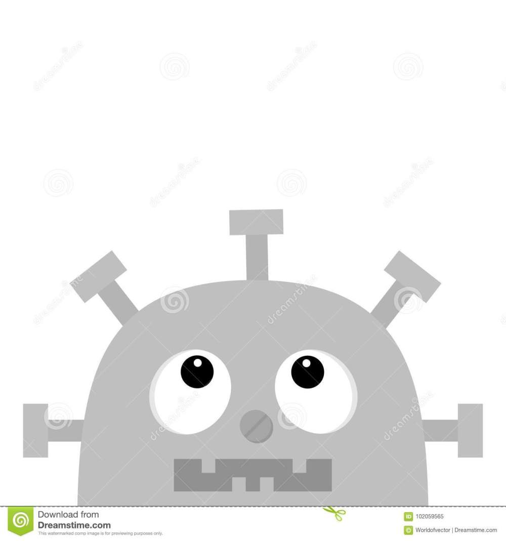 medium resolution of robot head face looking up nose clock heart diagram open mouth with tooth cute vintage cartoon character gray metal baby collection flat design