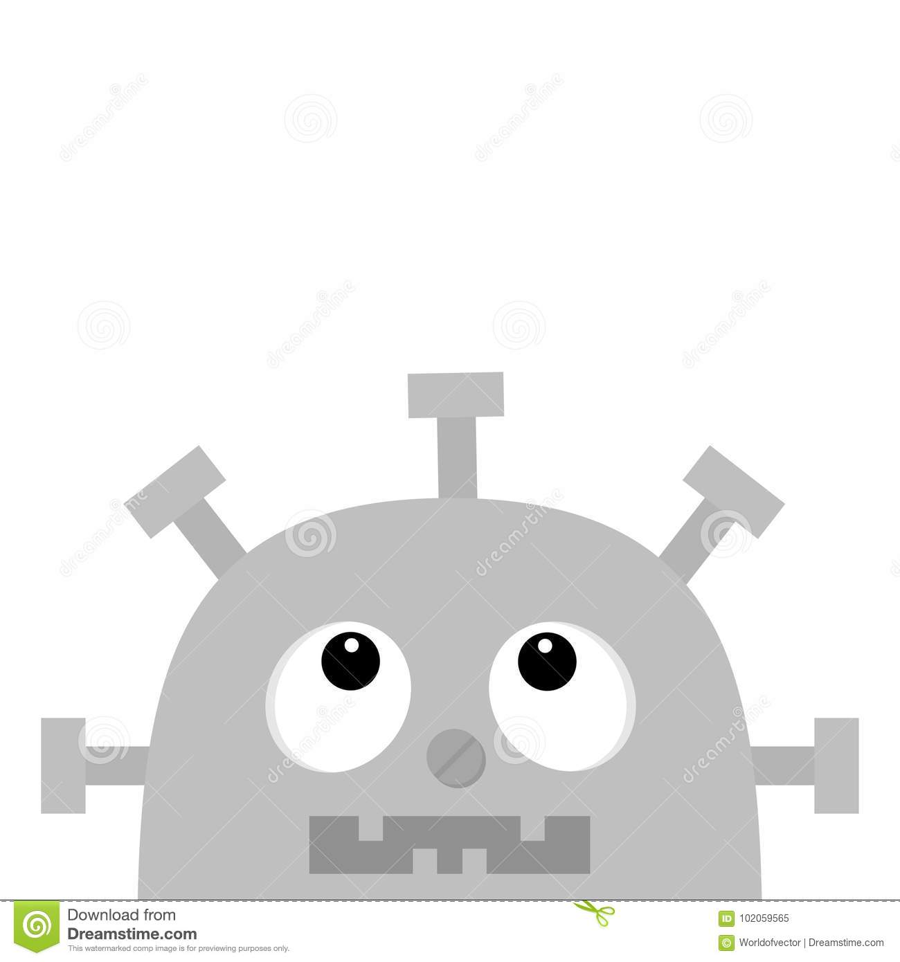hight resolution of robot head face looking up nose clock heart diagram open mouth with tooth cute vintage cartoon character gray metal baby collection flat design