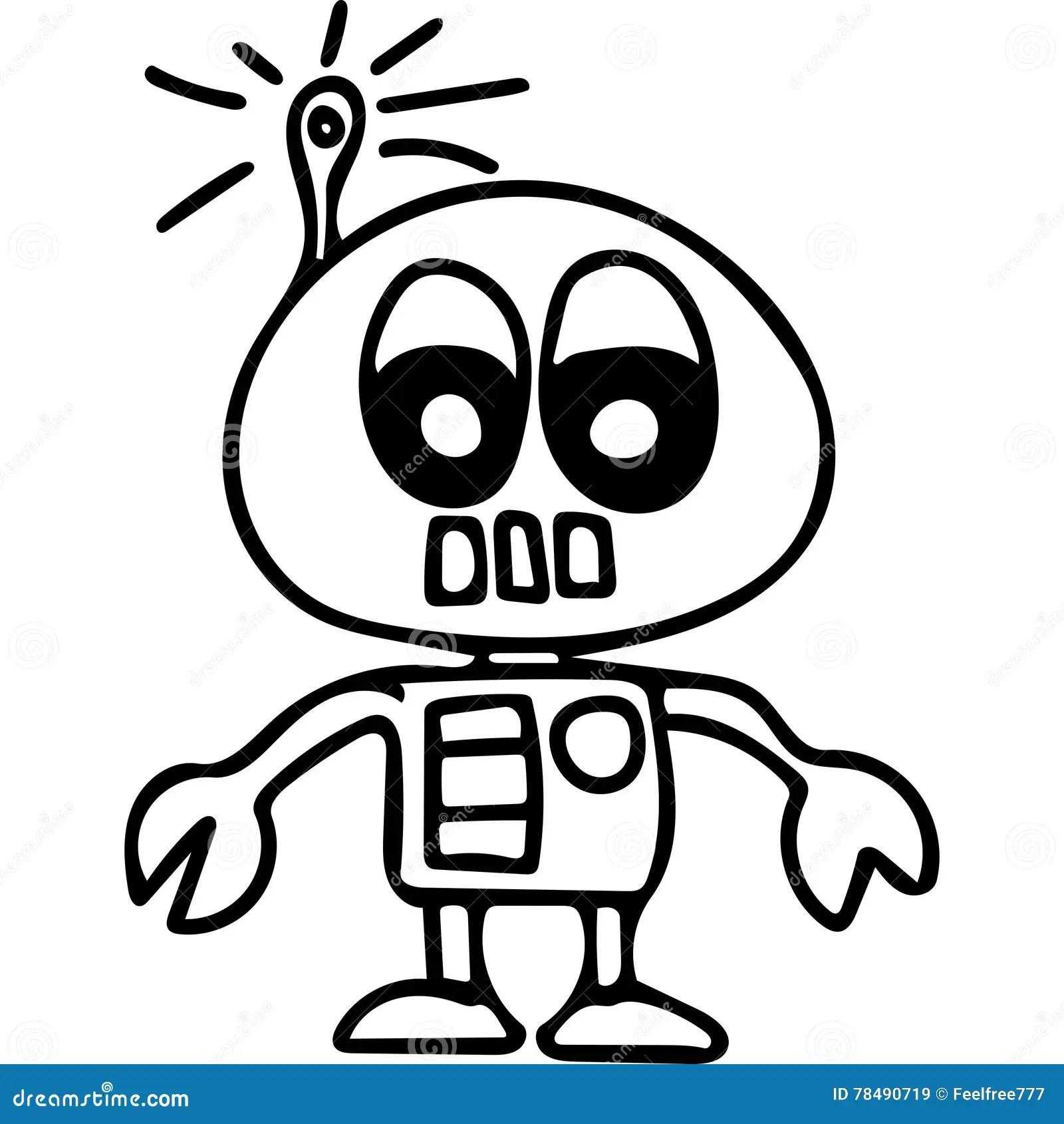 Robot kids coloring page stock illustration. Illustration