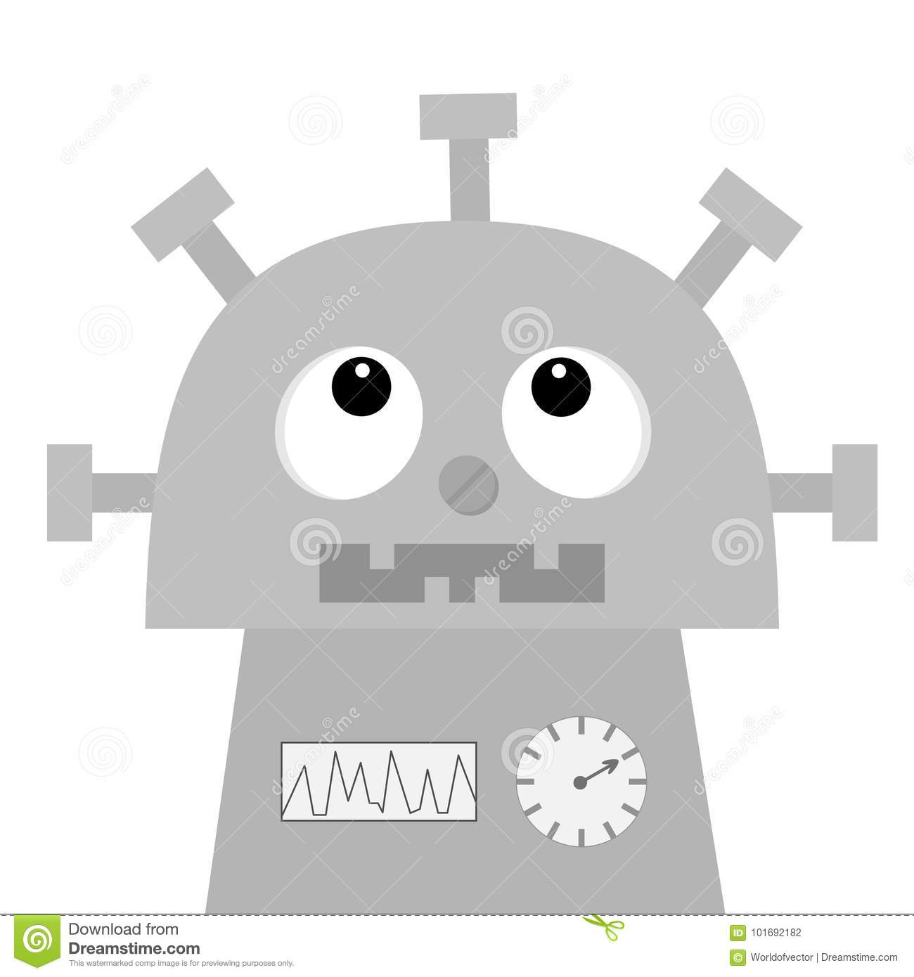 Robot Looking Up Nose Clock Heart Diagram Open Mouth With Tooth Rh  Dreamstime Com Cute Baby Diaper Bags Baby Growing Chart