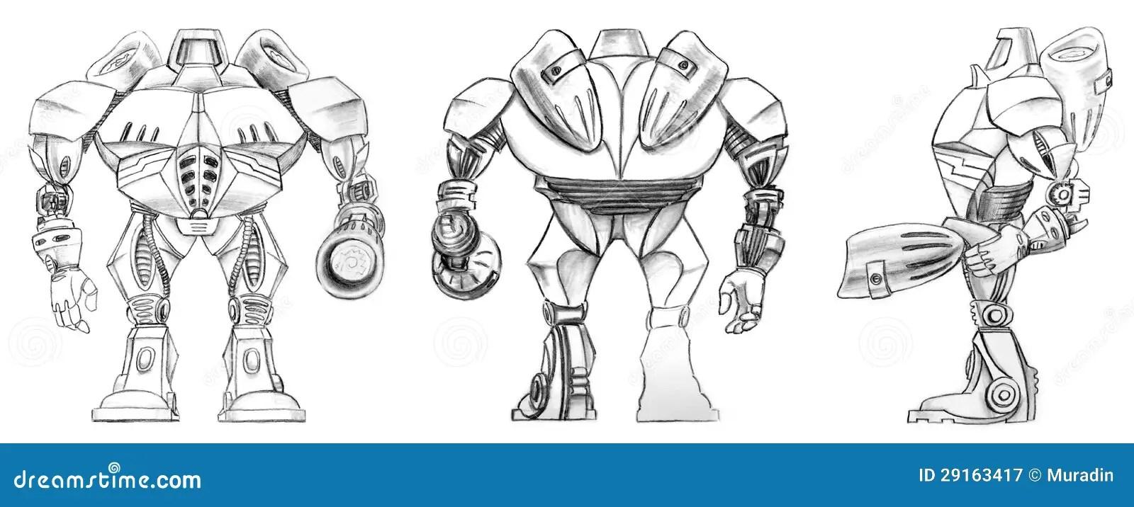 Robot transformer sketch stock illustration. Illustration