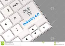 Robotic Arm Icon And Word Industry 4.0 Keyboard