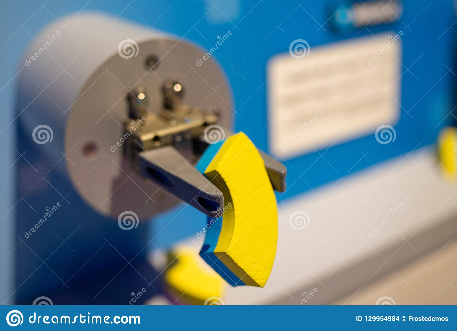Robot Arm Holding Chip Circuit Board Background Royalty