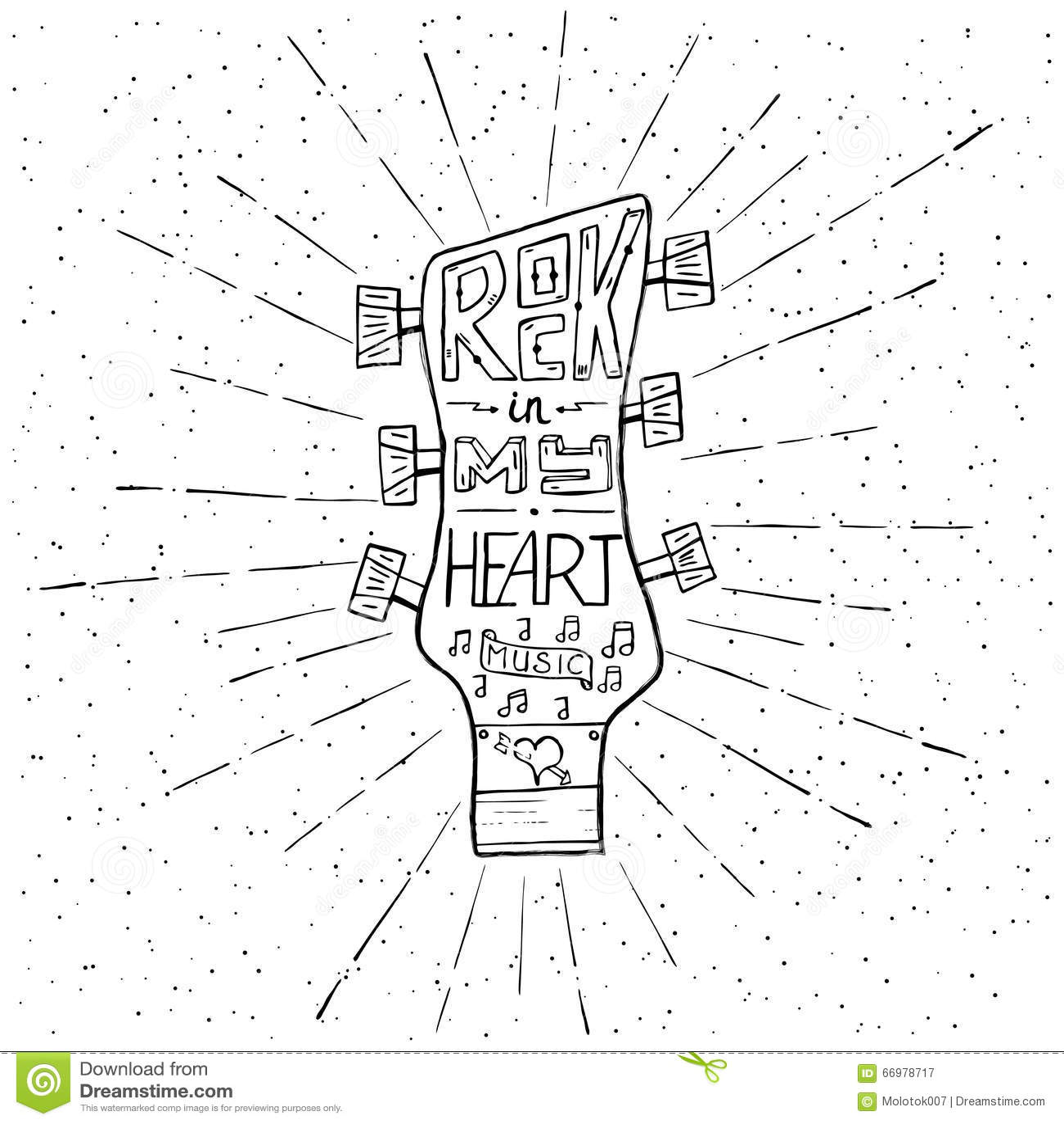 Music Lettering Silhouette Poster Rock Vector Illustration