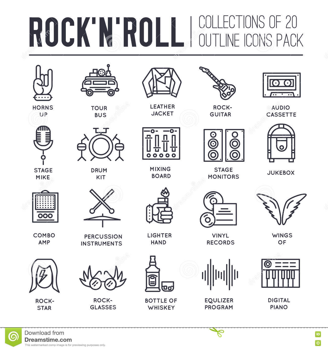 ROCK N ROLL Circle Outline Icons Collection Set. Music