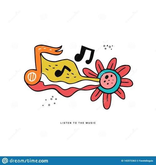 small resolution of rock n roll doodle vector color illustration hippie music hand drawn clipart musical notes flowers cartoon composition disco party