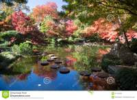 Rock Path In Pretty Japanese Garden Stock Image - Image of ...