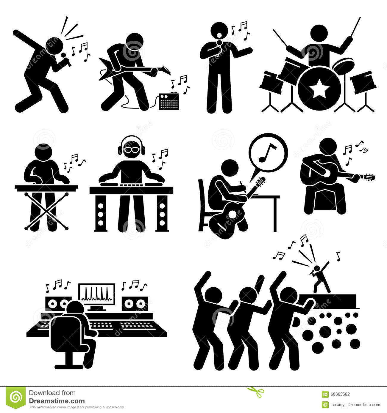 hight resolution of rock star musician music artist with musical instruments clipart