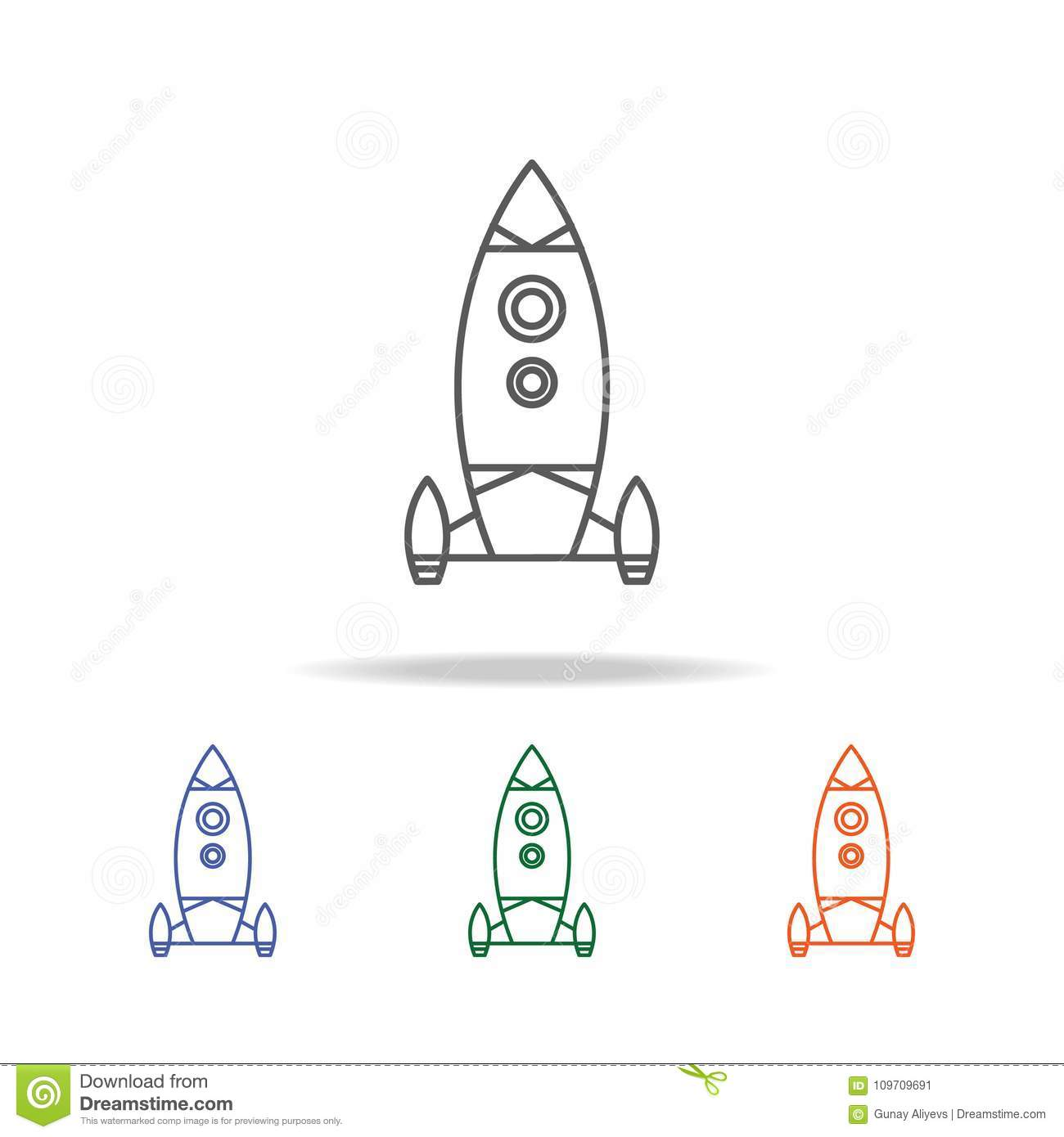 Rocket Icon. Element Of A Space Multi Colored Icon For