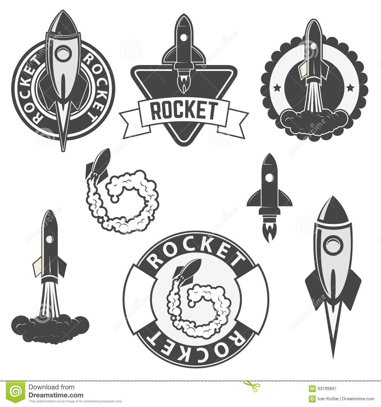 Rocket Labels Set Stock Vector